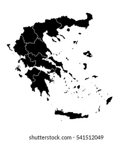 Black map of Greece