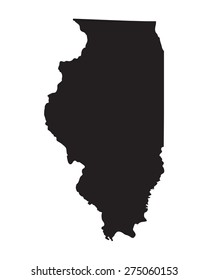 black map of Illinois