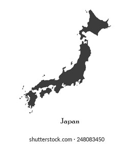 Black map of Japan for your design, concept Illustration.