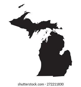 black map of Michigan