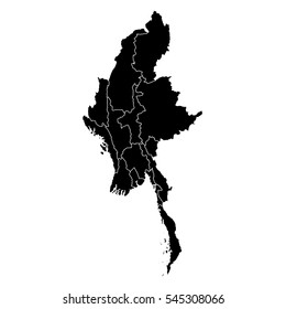 Black map of Myanmar