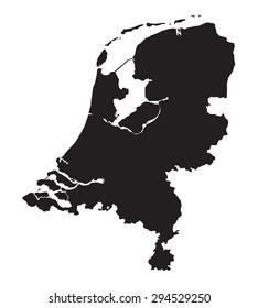 black map of Netherlands