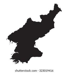 black map of North Korea