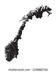 Black map of Norway