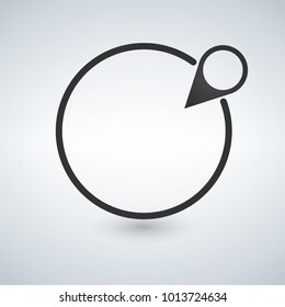 black map pin and circle, gps tracking button, coordinates location position indicator icon on a white background