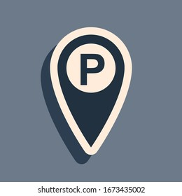 Black Map pointer with car parking icon isolated on grey background. Long shadow style. Vector Illustration