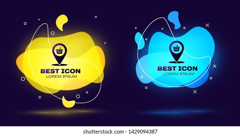 Black Map pointer with shopping basket icon isolated on blue background. Pin point shop and shopping. Supermarket basket symbol. Set of liquid color abstract geometric shapes. Vector Illustration