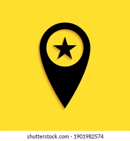 Black Map pointer with star icon isolated on yellow background. Star favorite pin map icon. Map markers. Long shadow style. Vector.