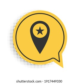 Black Map pointer with star icon isolated on white background. Star favorite pin map icon. Map markers. Yellow speech bubble symbol. Vector.
