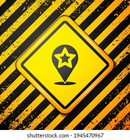 Black Map pointer with star icon isolated on yellow background. Star favorite pin map icon. Map markers. Warning sign. Vector