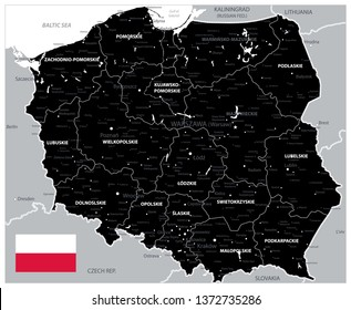 Black Map of Poland - Detailed map of Poland vector illustration - All elements are separated in editable layers clearly labeled.