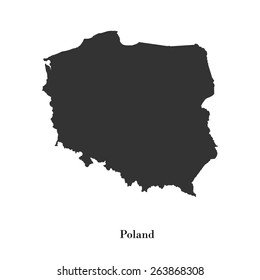 Black map of Poland for your design, concept Illustration.