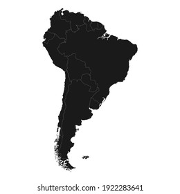 Black Map of South America.