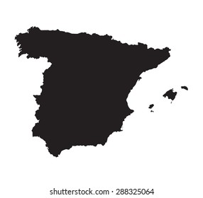 black map of Spain