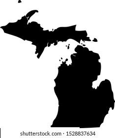 Black map state USA - Michigan