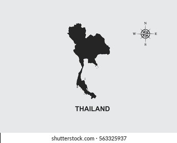 Black map of Thailand on gray background