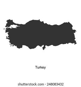 Black map of Turkey for your design, concept Illustration.