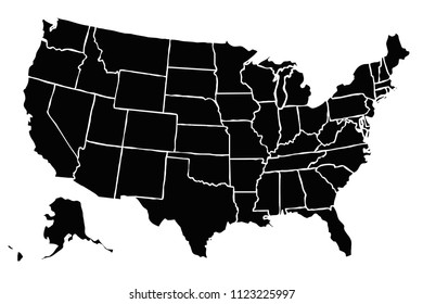 Black map of United States of America.