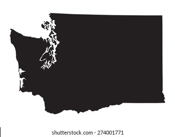 black map of Washington