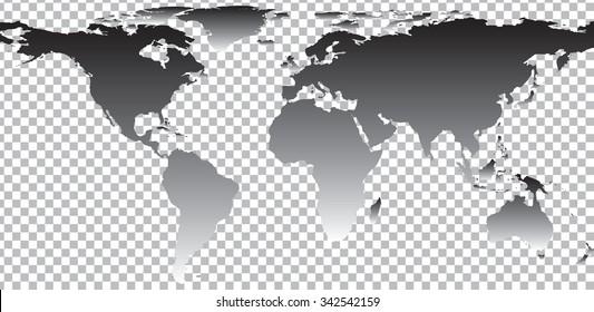 Black map of world on transparent background. Vector illustration