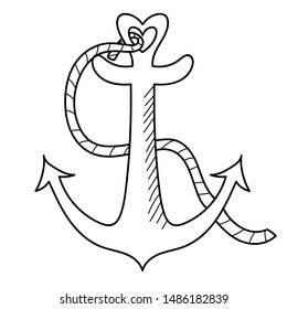 Black marine or ships anchor with a heart symbolizing love and romance, a honeymoon or Valentines cruise or a love of boating and yachting, vector illustration