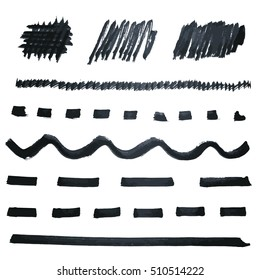 Black marker lines collection. Set of different hand drawn strokes, stains and lines. Vector elements for your design.