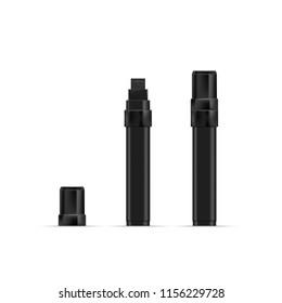 Black marker realistic vector illustration. Broad black marker for graffiti tags. EPS 10