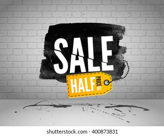 Black market half price off sale graphic poster with shopping tag. Big sale banner on grunge brick wall background.
