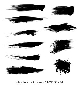 Black Mascara Brush Set Element of Female Makeup for Ad. Vector illustration of Qualitative Trace Texture Paint