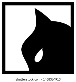 Black mask with cat ear and white eye on white background. Black head silhouette on white background. Batman or Catwoman logo. Hero in mask concept. Black and white superhero avatar. Bat man head icon
