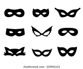 Black mask shapes collection isolated on white background.