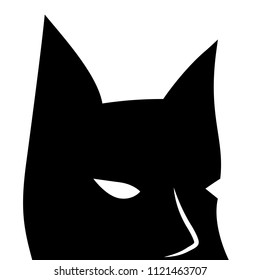 Black mask with sharp ears. Batman square vector logo on white background. Bat mask with eyes. Creepy mask for Halloween. Bat man icon. Black and white superhero icon. Brave man character from comics