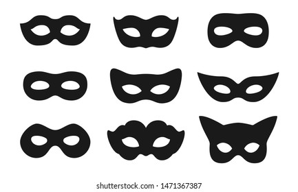 Black mask vector icon collection. Different masks silhouette isolated on white background