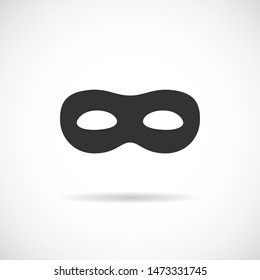 Black mask vector icon. Simple robber silhouette isolated on white background