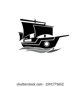 black Mayflower Pirate Ship with  Logo Design Vector