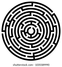 Black maze circle. Black labyrinth. Maze symbol. Labyrinth isolated on white background