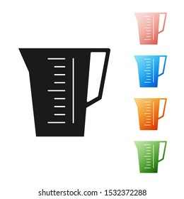 Black Measuring cup to measure dry and liquid food icon isolated on white background. Plastic graduated beaker with handle. Set icons colorful. Vector Illustration
