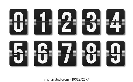 Black mechanical scoreboard with different numbers. Flip clock showing how much time: hours, minutes and seconds.