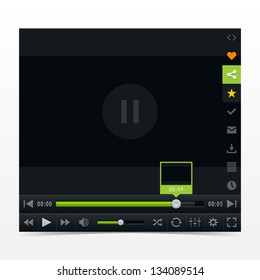 Black media player with video loading bar. Contemporary classic  dark style skin. Variation 03 (color green). UI user interface control buttons. Vector illustration web design element in 10 eps