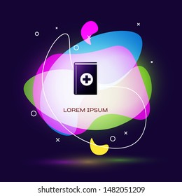 Black Medical book icon isolated on dark blue background. Abstract banner with liquid shapes. Vector Illustration
