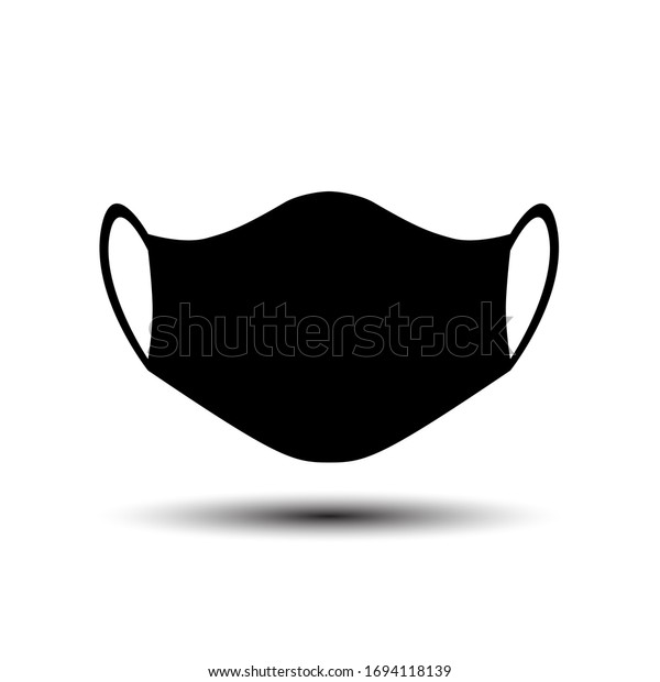 black medical mask covid 19 icon isolated on white background