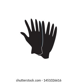 Black medicine or housekeeping protective latex gloves vector illustration isolated on white background. Concept of industrial security and safety professional workplace.