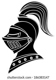 black medieval helmet silhouette