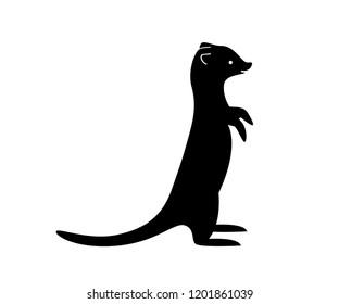 Black meerkat silhouette. Vector shadow. Laser cutting path