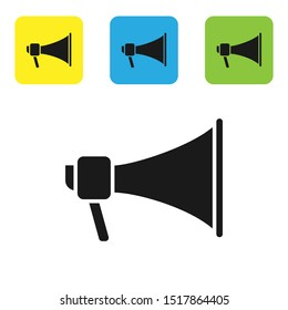 Black Megaphone icon isolated on white background. Speaker sign. Set icons colorful square buttons. Vector Illustration