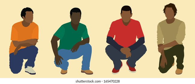 Black Men Squatting or Kneeling