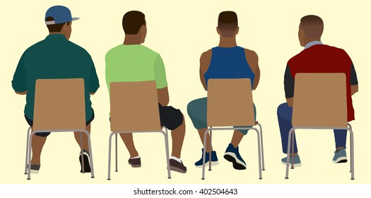 Black Men Viewed from Behind Sitting in Chairs