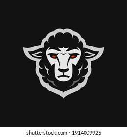 Black merino sheep head sport mascot design character for gaming team or college club, modern cartoon style Illustration design of goat head isolated on black background.