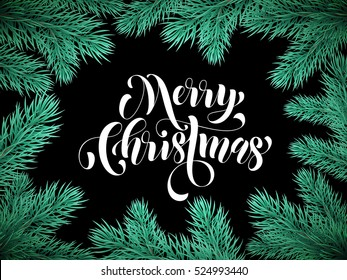 Black Merry Christmas card background with Christmas pine tree branches and lettering for greeting card