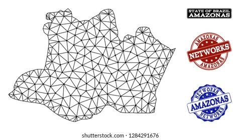 Black mesh vector map of Amazonas State isolated on a white background and scratched watermarks for networks. Abstract lines, dots and triangles forms map of Amazonas State.